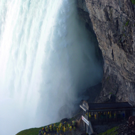 An observation deck on the right side of Horseshoe (Canadian) Falls at Niagara Falls.