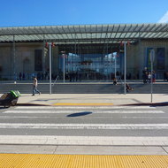 The main entrance of the California Academy of Sciences.