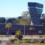 A view of the de Young Museum from the roof of the California Academy of Sciences.