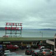 One part of the famous Pike Market in Seattle, looking into the sound.