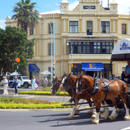 The Esplanade Hotel in the town of Devonport, across the harbor from Auckland, with a horse tour of the town in the foreground.
