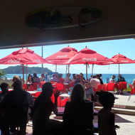 Looking out to Onetangi Bay from a restaurant on Waiheke Island outside Auckland, New Zealand.