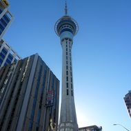 The Sky Tower that towers over downtown Auckland.