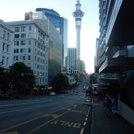 The Sky Tower in Auckland, New Zealand from a nearby street.