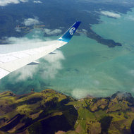 Flying over the North Island of New Zeland in an Air New Zealand jet.