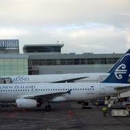 Air New Zealand jets at the Auckland International Airport.