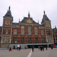 The Amsterdam Centraal Station in downtown Amsterdam.