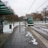 The mass transit train in Strasbourg in winter.