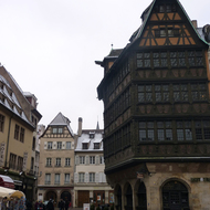 The famous Maison de Kammerzell and nearby buildings next to the Cathedrale Notre-Dame de Strasbourg.