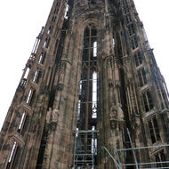 The tower at the Cathedrale Notre-Dame de Strasbourg.