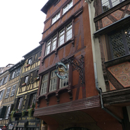 Half-timbered buildings, which are frequently seen in Strasbourg.