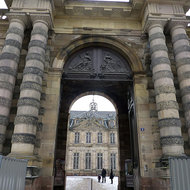 The entrance to the Palais Rohan, site of the Archaeological Museum, the Museum of Decorative Arts, and the Museum of Fine Arts.