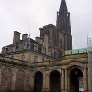 A view of the Cathedrale Notre-Dame de Strasbourg from the Palais Rohan in winter.