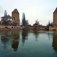Guard towers on the river in Strasbourg.