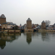 The guard towers of old town Strasbourg.