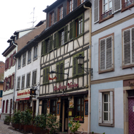 A typical Strasbourg street scene in the old town.