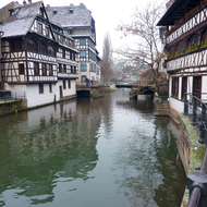 A canal in old town Strasbourg in winter.