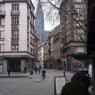An old town Strasbourg street scene in winter.