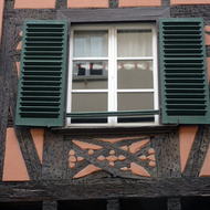 Detail of a half-timbered building in Strasbourg.
