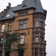 Detail of a building in old town Strasbourg.