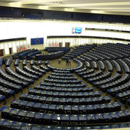 Inside the European Parliament chamber in Strasbourg.