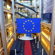 Inside the European Parliament building in Strasbourg.
