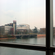 The European Court of Human Rights as seen from the European Parliament building in Strasbourg.