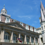 The Cabildo building and the St. Louis Cathedral on Jackson Square in New Orleans.