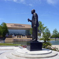 The Louis Armstrong statue and Mahalia Jackson Theatre for the Performing Arts in New Orleans.