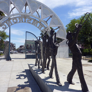 A sculpture at the entrance of Louis Armstrong Park, New Orleans.