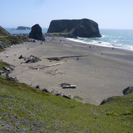 Goat Rock Beach, where the Russian River meets the Pacific Ocean in Sonoma County, California.