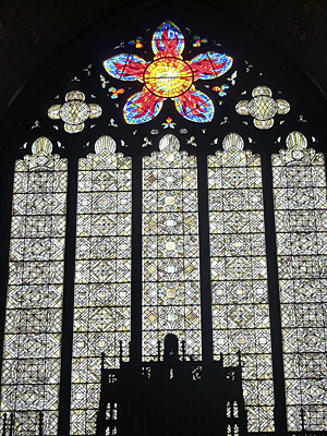 Thumbnail image ofA stained glass window in the Rockefeller Memorial...