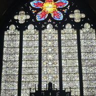 A stained glass window in the Rockefeller Memorial Chapel on the University of Chicago campus.