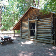 The cabin at the reservoir at Jack London State Park.