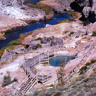 Hot Creek hot springs in the Eastern Sierra.