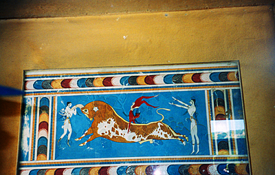 Thumbnail image ofThe famous Bull-Leaping Fresco at the palace of...