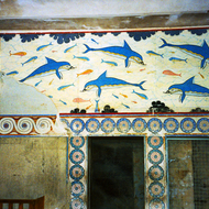The Dolpin Fresco at the Palace of Knossos, Crete.