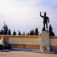 The memorial at Thermopylae, where a small Greek army held the much larger Persian Army back from invading Greece in 480 B.C. for several days before being overrun.