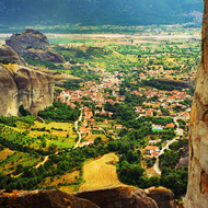 A view of Kalabaka from the Meteora Monasteries.