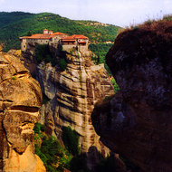 A Meteora Monastery perched on its pinnacle.