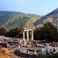 The Tholos at the sanctuary of Athena Pronoia at Delphi, Greece.