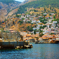 The harbor at the island of Poros, Greece.