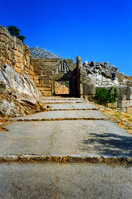 Thumbnail image ofThe Lion Gate at the ruins of the Bronze Age citadel...