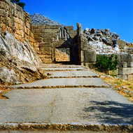 The Lion Gate at the ruins of the Bronze Age citadel of Mycenae, Greece.