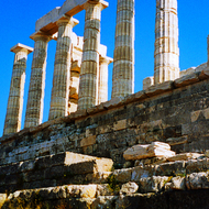 The Temple of Poseidon at Cape Sounion, Greece.