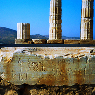 Carvings in the ruins at Cape Sounion, Greece.