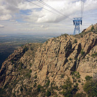 The Sandia Peak Tramway at the first ridge.