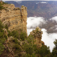 The Grand Canyon from the South Rim near Mather Point, with wispy clouds from summer rainstorms.
