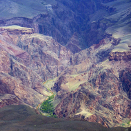 A view of Phantom Ranch from Mather Point, the South Rim of the Grand Canyon.