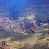 A view of Phantom Ranch and the Colorado River from Mather Point, the South Rim of the Grand Canyon.